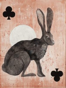 Hare of Clubs | mixed media | 48 x 36""
