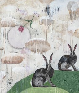 Two Rabbits | mixed media | 42 x 36""